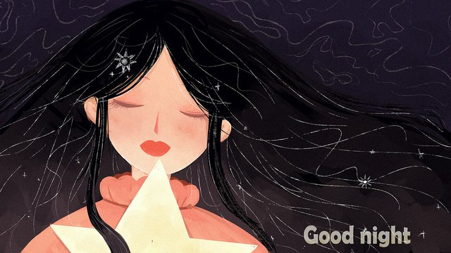 Original illustration good night world, Girl, Star, Small Fresh illustration image