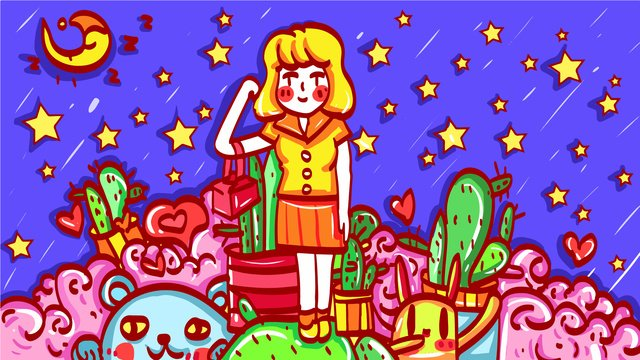 Girl starry sky night view moon dream, Vector, Hand Painted, Cactus illustration image