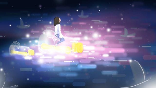 ドリフトボトルキュアイラストを持つ少女 イラストレーション画像