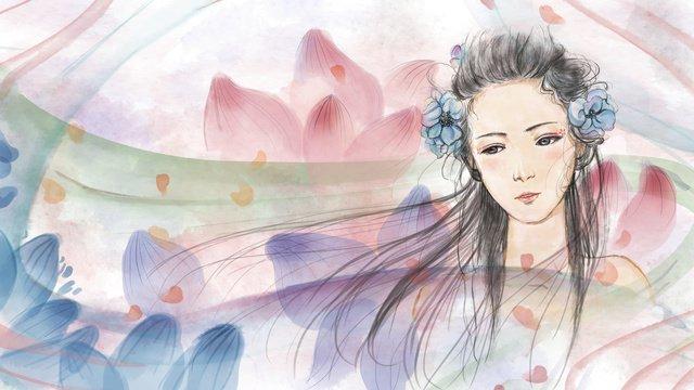 オリジナルヒーリングシステム水彩イラスト花びらフライングガール イラスト素材 イラスト画像