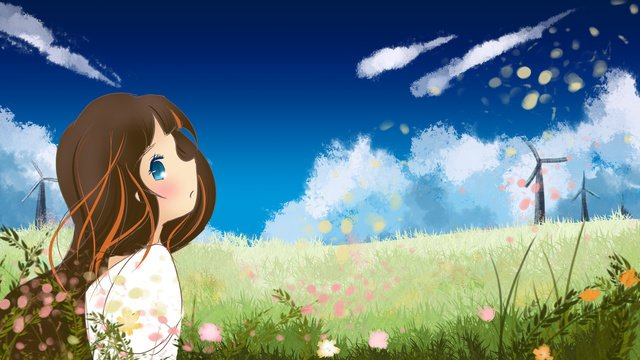 Original cartoon illustration of girl looking up to the sky, Girl, Windmill, Sky illustration image