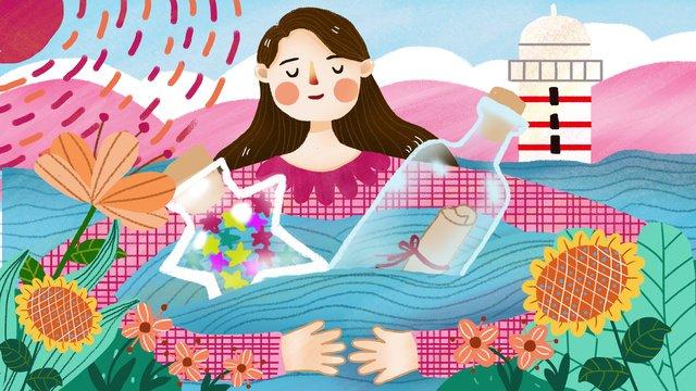 海でボトルを抱いてドリフトボトルを持つ少女を癒す少女 イラストレーション画像 イラスト画像