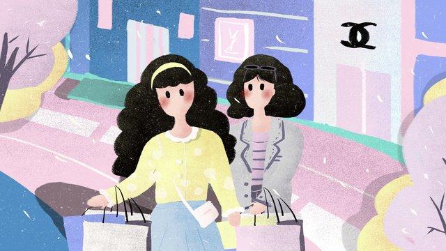여자 친구 일일 도시 생활 쇼핑 일러스트 레이션 삽화 소재