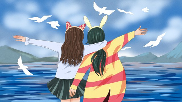 Everyday we go to see the sea fresh original illustration, Girlfriend, Daily, Seaside illustration image