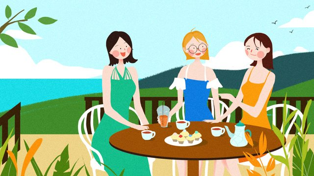 Girlfriends daily drinking afternoon tea girls party chat blue sea sky illustration, Girlfriend, Friend, Daily illustration image