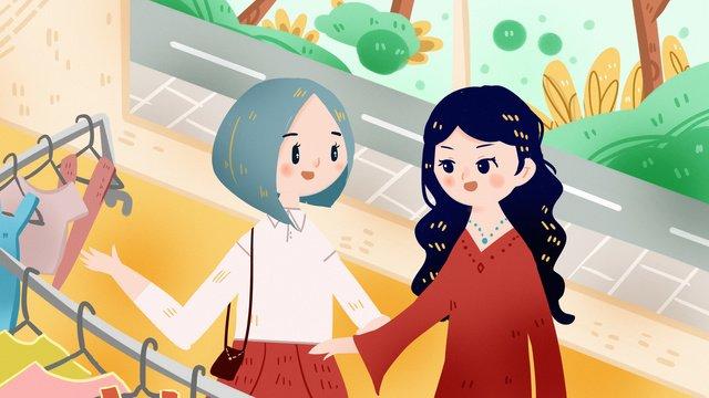 여자 친구 쇼핑 자매 옷 가게 삽화 소재 삽화 이미지