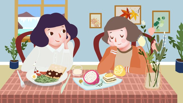 daily afternoon tea sharing for girlfriends llustration image