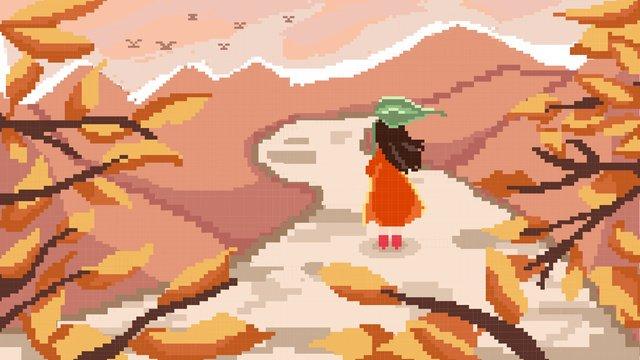 픽셀 스타일의 가을 소녀 풍경 삽화 소재 삽화 이미지