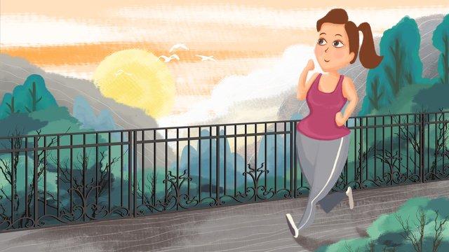 早安你好清晨跑步的少女 插畫素材 插畫圖片