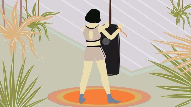 좋은 아침 피트니스 소녀 삽화 소재 삽화 이미지
