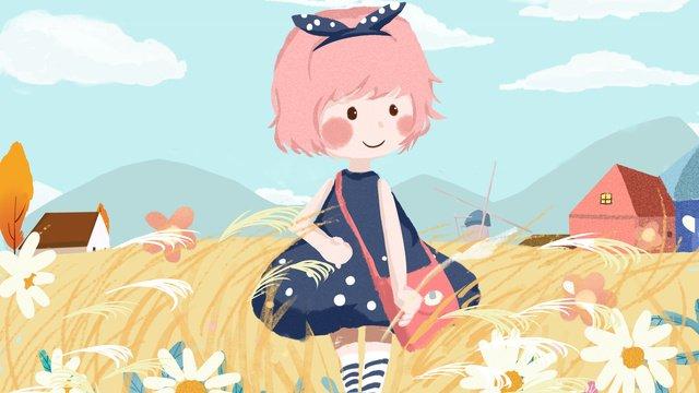おはようございます、こんにちは小さな女の子、学校に行く、かわいい子イラスト イラスト素材 イラスト画像