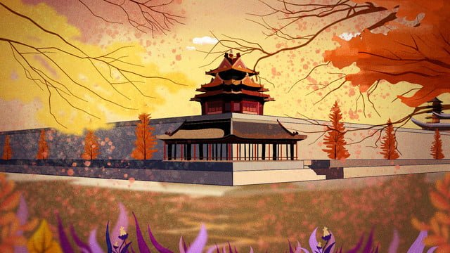 good morning hello beijing imperial palace beautiful scenery autumn llustration image illustration image
