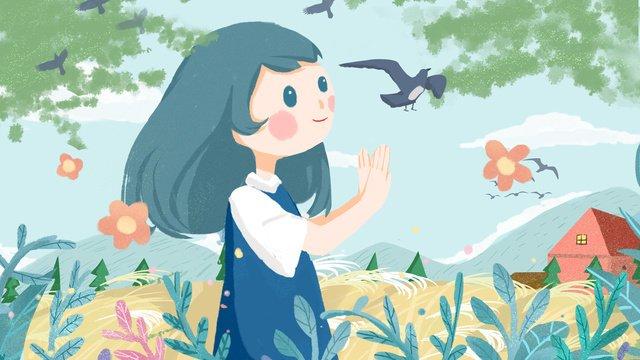 おはようございます、こんにちは小さな女の子の朝、かわいい暖かい子供のイラスト イラスト素材 イラスト画像