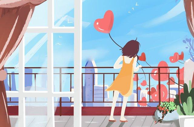 good morning city girl balcony original illustration llustration image illustration image