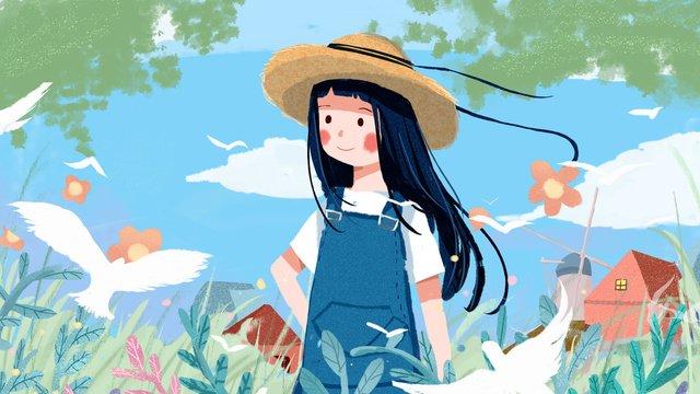 Good morning the girl of little fresh and lovely cure system illustration, Good Morning, Good Morning. Hello, In The Morning illustration image