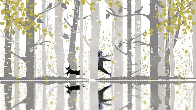 صباح الخير غابة الخريف والشتاء مواد الصور المدرجة