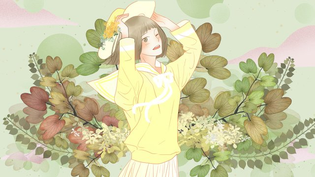 おはよう世界、小さな新鮮な植物や女の子 イラストレーション画像 イラスト画像