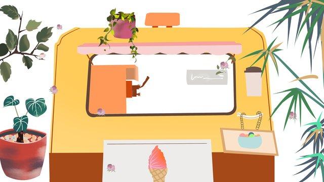 Fresh and simple good morning hello ice cream sale car illustration, Good Morning. Hello, Illustration, Ice Cream Sale Car illustration image