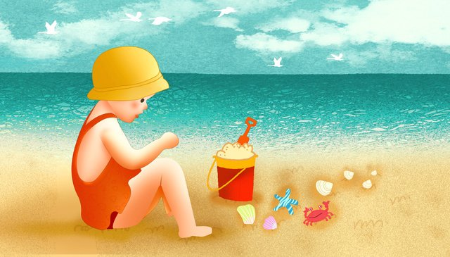 good morning hello cure the beach girl playing llustration image
