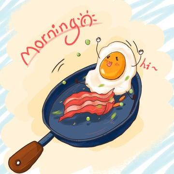 Good morning hello cute cartoon nutrition breakfast illustration, Good Morning, Hello There, Breakfast illustration image