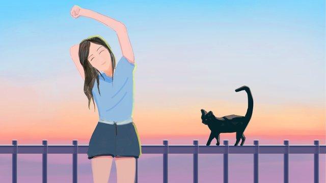 おはよう世界少女と猫 イラスト素材