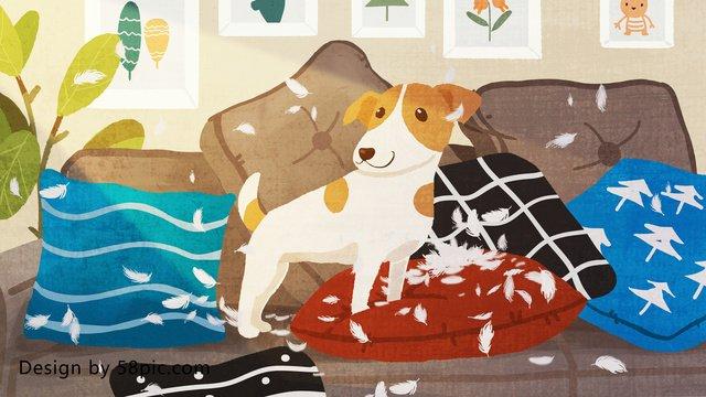 犬から始まるおはよう日オリジナルイラストを再生します イラスト素材 イラスト画像