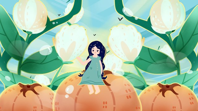 early morning good autumn pick cotton persimmon fairy frost llustration image illustration image