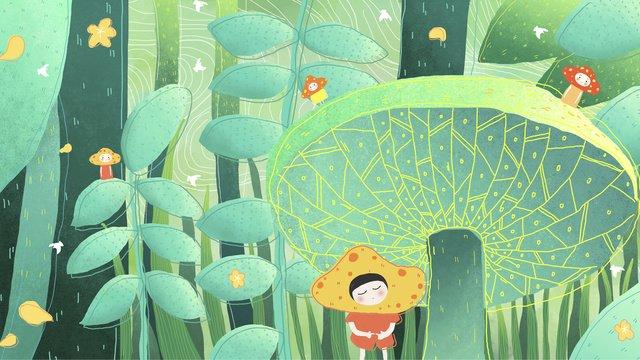 おはようございます、森の中のこんにちは イラストレーション画像