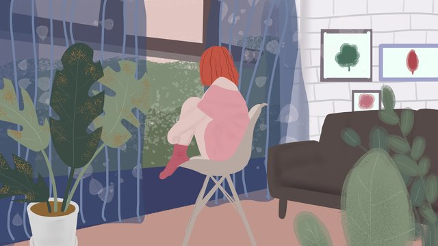 Girl sitting in the chair good morning hello llustration image