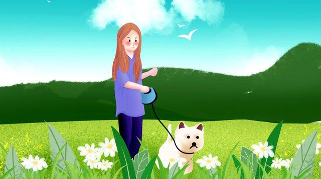 おはようございます、こんにちは小さな女の子、バッタ、犬 イラスト素材 イラスト画像