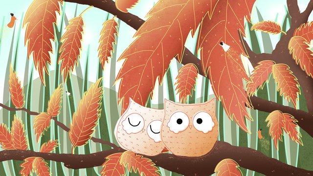 सुप्रभात नमस्ते वन उल्लू चित्रण छवि चित्रण छवि