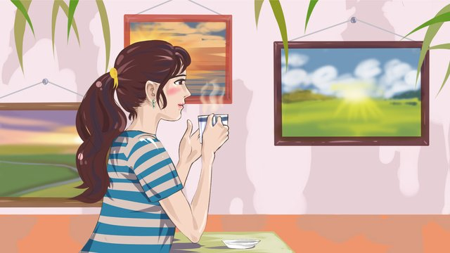 good morning girl drinking coffee original illustration llustration image illustration image