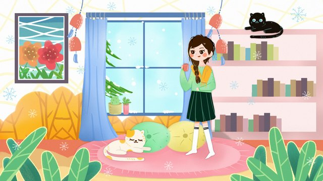 good morning hello winter window snow scene girl cat home november llustration image illustration image