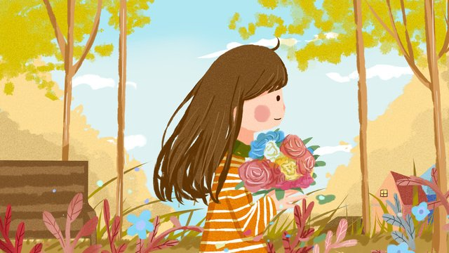 good morning hello autumn warm illustration with little girl llustration image illustration image
