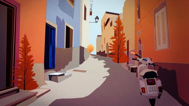good morning hello autumn alley sunrise beautiful view llustration image illustration image