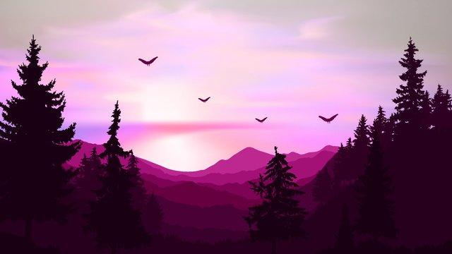 おはようございます、朝日のシーン イラストレーション画像 イラスト画像