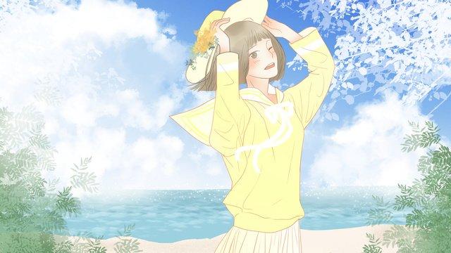 おはようございます、さわやかな朝、海沿いの女の子 イラストレーション画像 イラスト画像