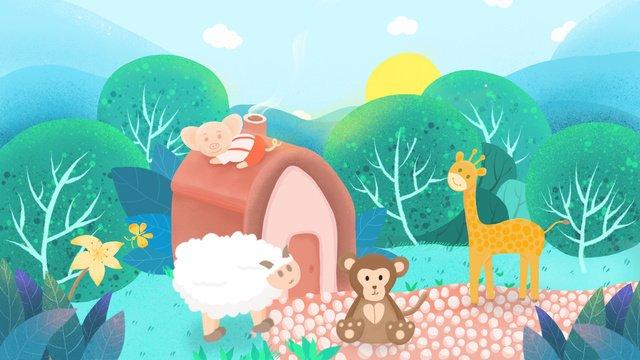좋은 아침 산속에있는 동물들 삽화 소재 삽화 이미지