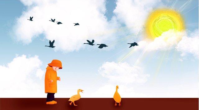 안녕하세요 안녕 소년과 태양 아래서 오리 삽화 소재
