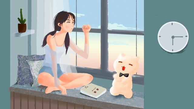 元の小さな新鮮なイラストおはようございますガール イラストレーション画像 イラスト画像
