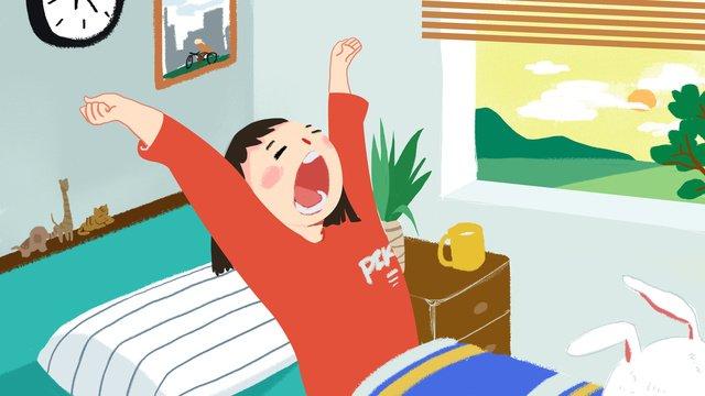 chào buổi sáng thế giới một ngày đẹp trời sớm cô gái dậy minh họa Hình minh họa