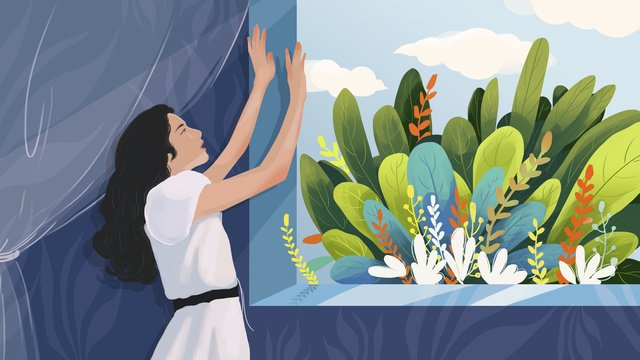 good morning world girl illustrator looking out the window llustration image