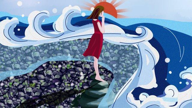 清新海日出浪沙灘女孩許願早安世界 插畫素材
