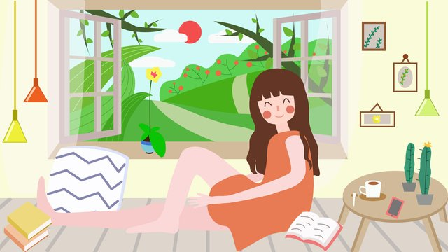 Good morning world girl sitting by the window llustration image