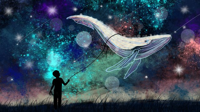 Whale starry sky cure illustration beautiful fantasy wonderland, Good Night, Background, Wallpaper illustration image