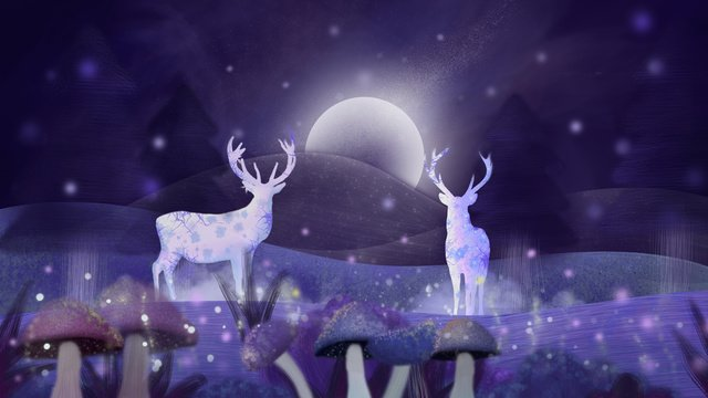 Hello good night cures the wind forest and deer llustration image