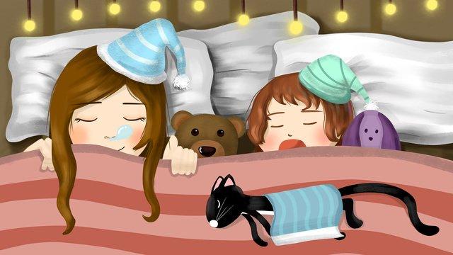 Good night sleep children, Good Night, Dream, Child illustration image