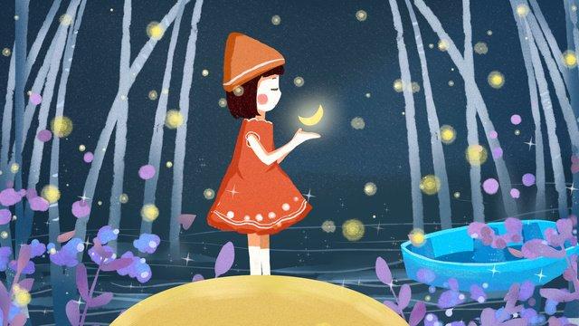 Chúc ngủ ngon xin chào minh họa cô bé và mặt trăng bầu trời đầy sao tuyệt đẹpNgủ  Ngon  Chúc PNG Và PSD illustration image