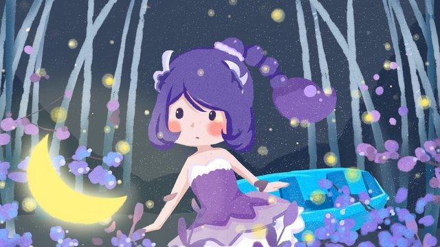 おやすみ、こんにちはイラスト、月を探している女の子、美しい花海の癒し系おやすみなさい  こんにちは。  10代の少女 PNGおよびPSD illustration image