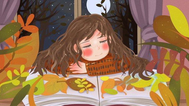 おやすみ、こんにちは、秋の夜、落ち葉で眠っている少女を集める イラスト素材